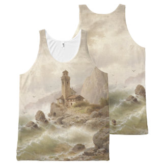 Lighthouse Boat Ocean Waves Beacon Tank Top