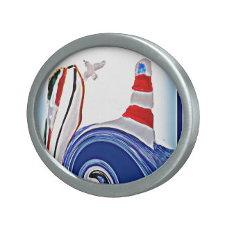 Lighthouse Boat on Stormy Abstract Seas Belt Buckle