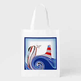 Lighthouse Boat on Stormy Abstract Seas Grocery Bag