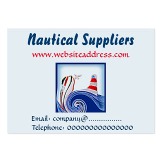 Lighthouse Boat on Stormy Seas Art Large Business Card