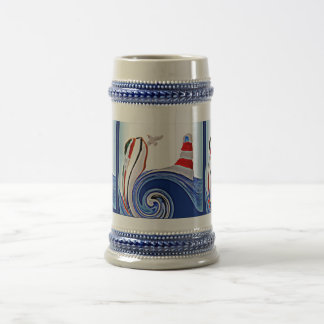 Lighthouse Boat on Stormy Seas Beer Stein