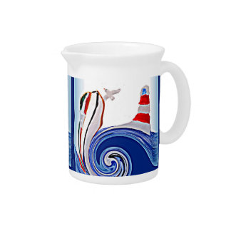 Lighthouse Boat on Stormy Seas Beverage Pitcher