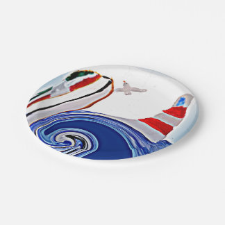 Lighthouse Boat on stormy seas Paper Plate