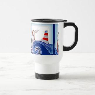 Lighthouse Boat on Stormy Seas Travel Mug