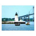 Lighthouse, Bridge and Boats, Newport, RI 4.25x5.5 Paper Invitation Card