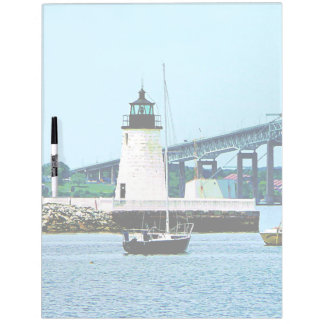 Lighthouse, Bridge and Boats, Newport, RI Dry Erase Boards