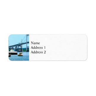 Lighthouse, Bridge and Boats, Newport, RI Label