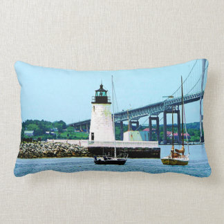 Lighthouse, Bridge and Boats, Newport, RI Lumbar Pillow