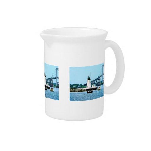 Lighthouse, Bridge and Boats, Newport, RI Drink Pitcher