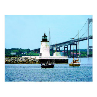 Lighthouse, Bridge and Boats, Newport, RI Postcard