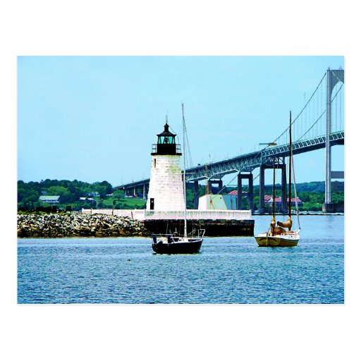 Lighthouse, Bridge and Boats, Newport, RI Post Card