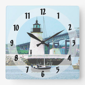 Lighthouse, Bridge and Boats, Newport, RI Square Wall Clock