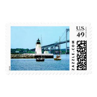 Lighthouse, Bridge and Boats, Newport, RI Stamp