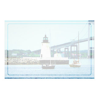 Lighthouse, Bridge and Boats, Newport, RI Stationery Paper