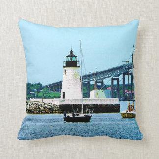 Lighthouse, Bridge and Boats, Newport, RI Throw Pillow