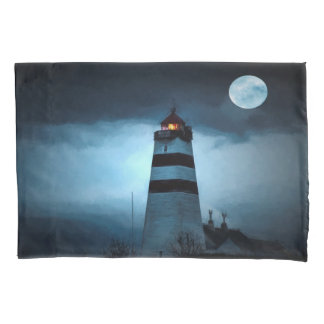 Lighthouse by night with full moon pillowcase