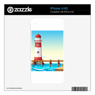 Lighthouse by the bridge iPhone 4 skin