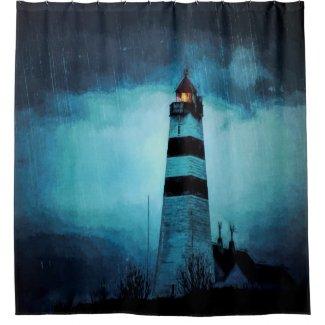 Lighthouse by the ocean a dark blue rainy night shower curtain