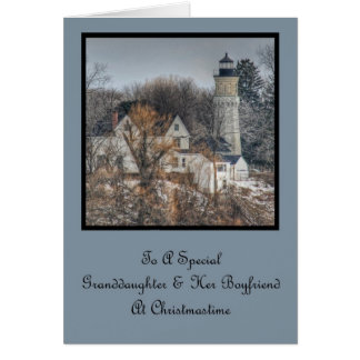 Lighthouse Christmas Granddaughter & Boyfriend Card