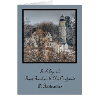 Lighthouse Christmas Great Grandson & Boyfriend Card