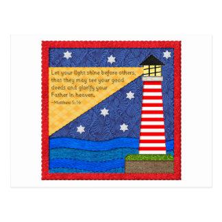 Lighthouse Collage Inspirational Postcard