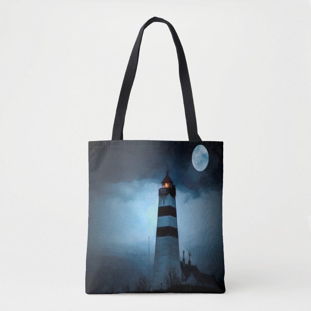 Lighthouse dark night with moon