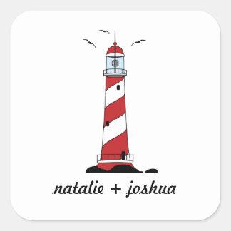 Lighthouse Destination Wedding Envelope Seal Square Sticker