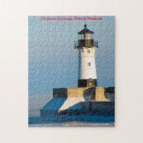 Lighthouse Duluth  Minnesota.Christmas Greetings Jigsaw Puzzle