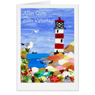 Lighthouse Father's Day Card - German Greeting