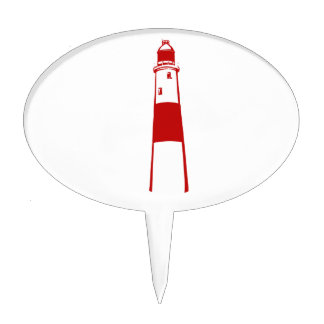 lighthouse flat graphic red white.png cake topper