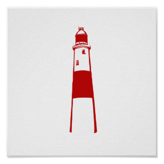 lighthouse flat graphic red white png posters