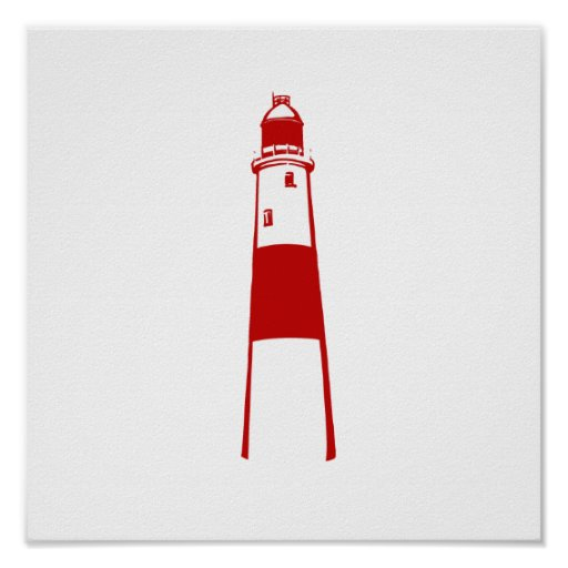 lighthouse flat graphic red white.png posters