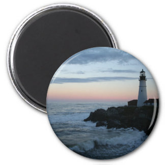 Lighthouse, Glorious Sunset! 2 Inch Round Magnet