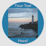 Lighthouse, Glorious Sunset! Classic Round Sticker
