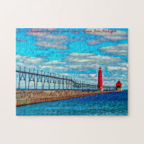 Lighthouse Grand Haven Pier Michigan. Jigsaw Puzzle