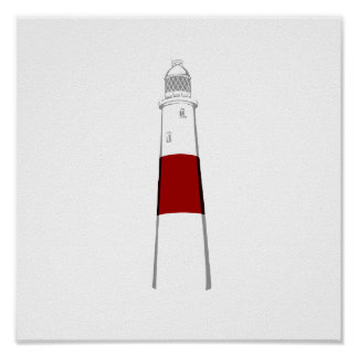lighthouse grey white red.png posters