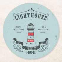 Lighthouse Guide Me Home Poster Round Paper Coaster