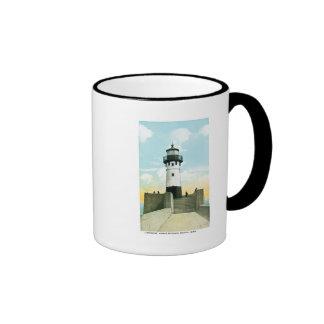 Lighthouse, Harbor Entrance, Duluth, Minnesota Ringer Coffee Mug