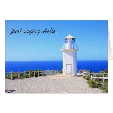 Beach Themed Lighthouse Hello Card
