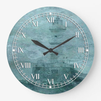 Lighthouse Impasto Large Clock