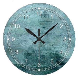 Lighthouse Impasto Large Clock