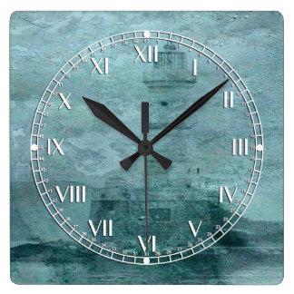 Lighthouse Impasto Square Wall Clock