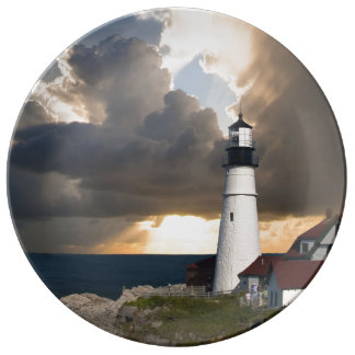 Lighthouse in a Storm Plate