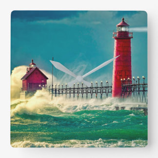 Lighthouse In A Storm Square Wall Clock