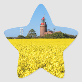 Lighthouse in Bastorf with yellow canola field Star Sticker