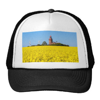 Lighthouse in Bastorf with yellow canola field Trucker Hat