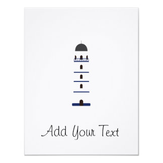 Lighthouse in blue, black,white and gray 4.25x5.5 paper invitation card