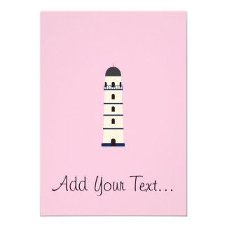 Lighthouse in blue, black,white and gray 5x7 paper invitation card
