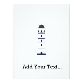 Lighthouse in blue, black,white and gray 6.5x8.75 paper invitation card
