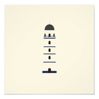 Lighthouse in blue, black,white and gray invitation